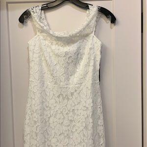 Lulu's White Long Lace Lined Dress